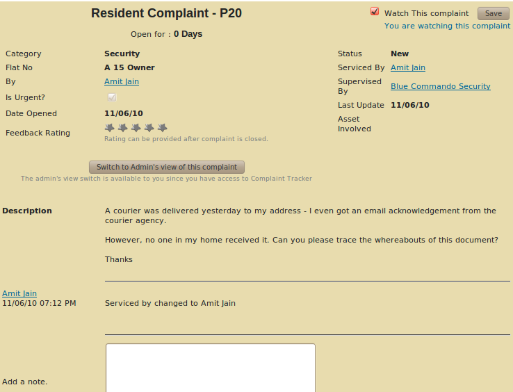 Resident's view of Complaint Tracker