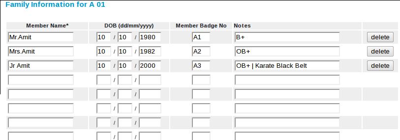 Screenshot of Family Information
