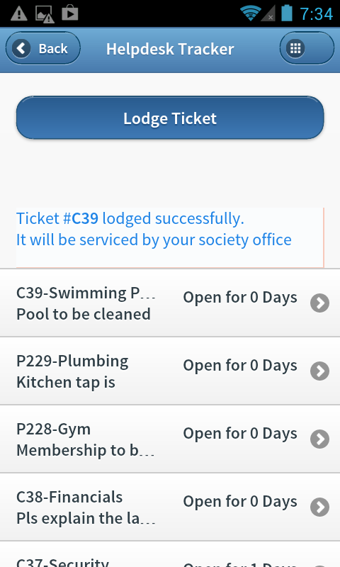 Housing Society App - Tickets