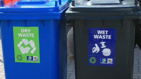 dry and wet waste bins
