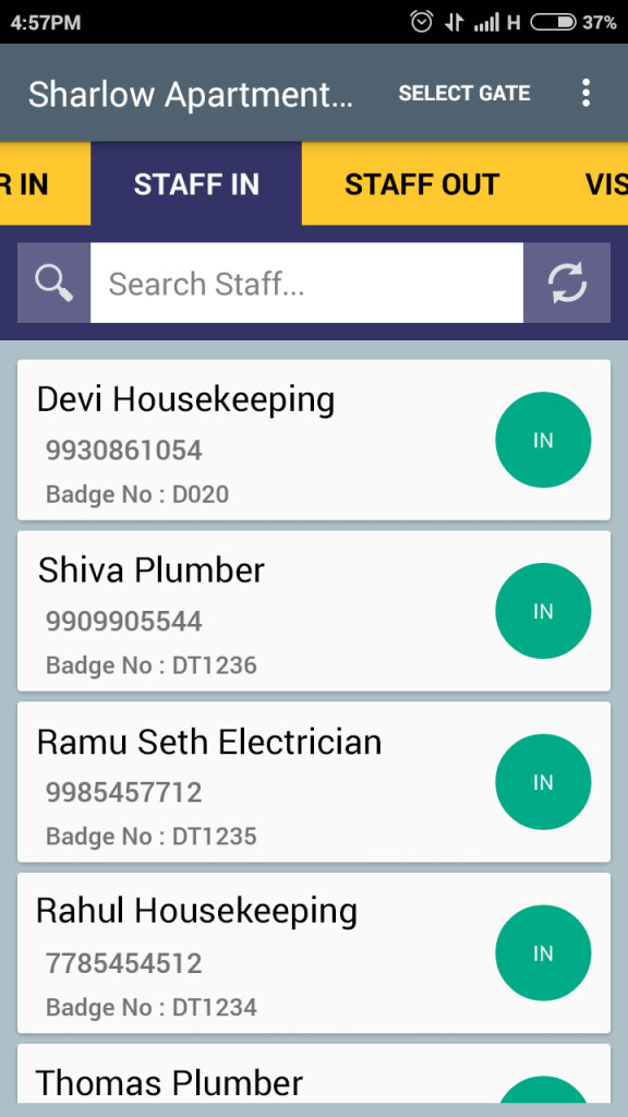 Gatekeeper App - Staff check in
