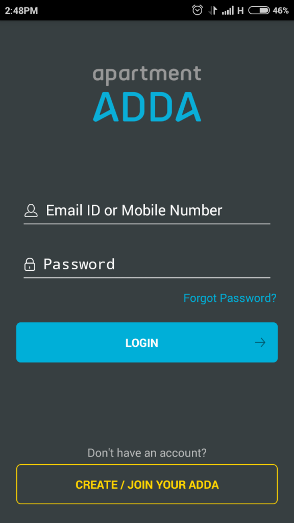 Login Screen to Apartment Complex ADDA