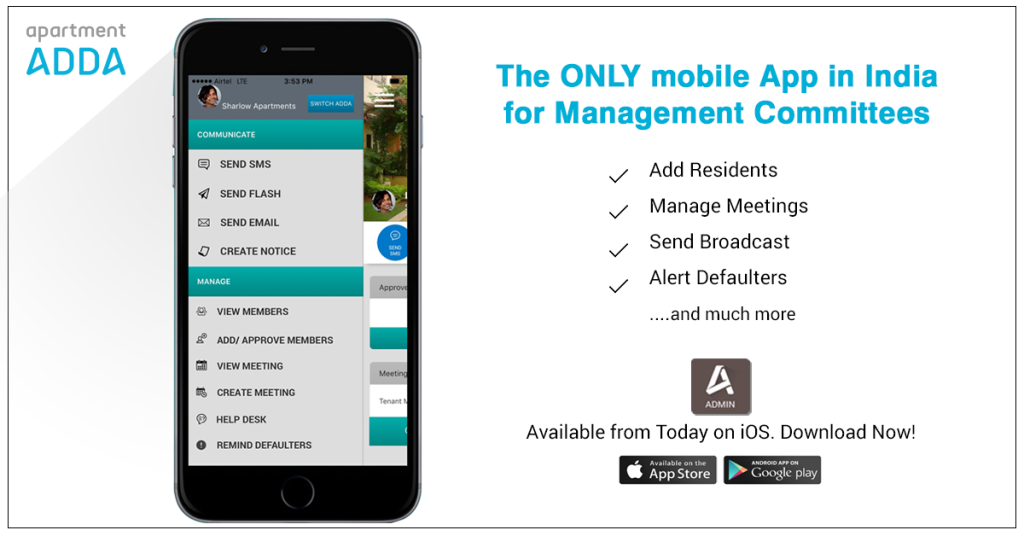 ADDA Admin App for iOS. The only App for Managament Committee members in India