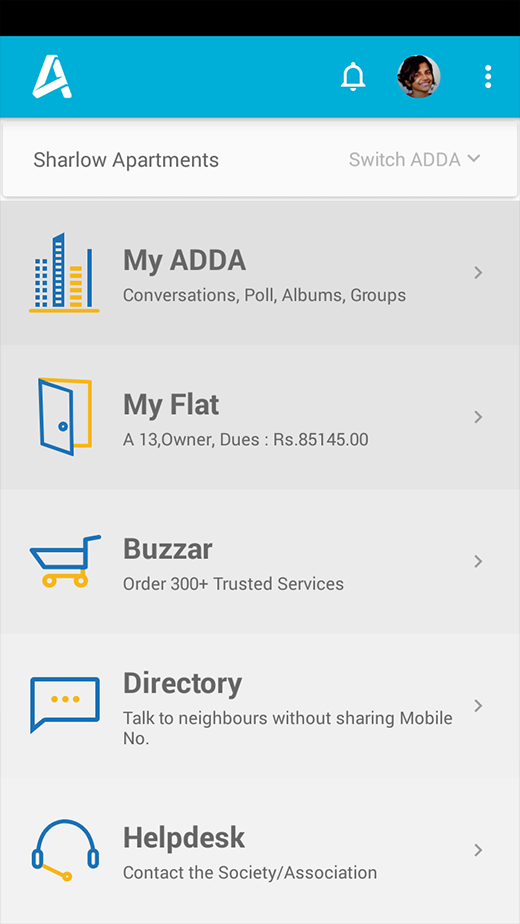 Dashboard for quick access to Neighborhood, My ADDA, Flat, Buzzar, Directory