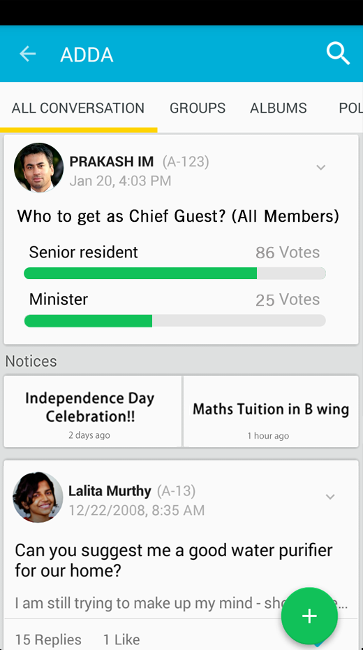 Have Discussions in forums, Notice Boards, Polls Photos shared by your Neighbors here..