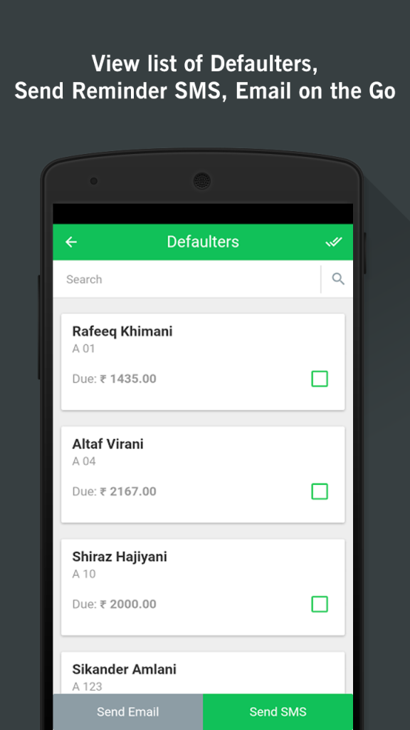 Apartment Management App Defaulter List