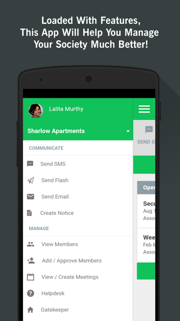 Apartment Management App Menu