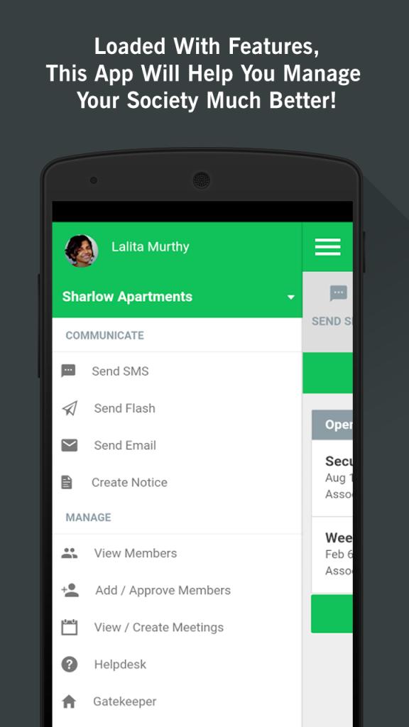 Apartment Management App Menu