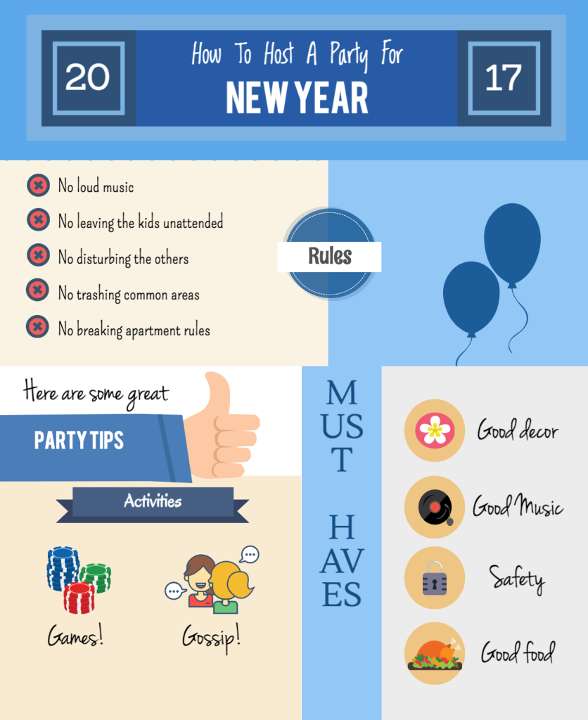 apartment new year celebration infographic